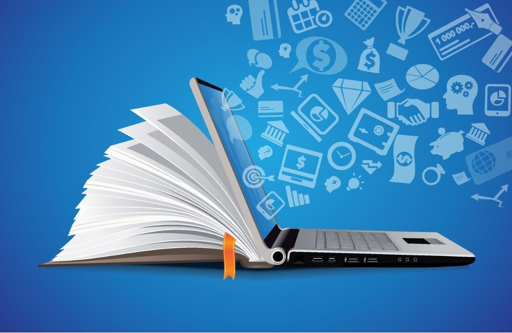 Combined Laptop and Book, representing e-learning.